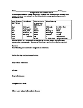 Subordinating and Coordinating Conjunctions Comma Rules--t