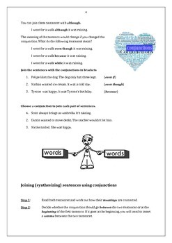 Conjunctions and Relative Pronouns: Student Activities and Handouts + Answer Key