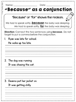 Conjunctions (and, but, so, or, for) Common Core Practice Sheets L.1.1.G
