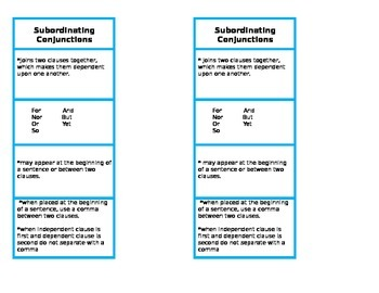 Conjunctions bookmarks