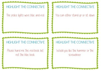 Conjunctions / connectives Task Cards - Guided Reading