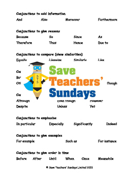 Conjunctions list, organised by type of conjunction