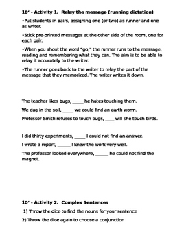 Conjunctions review with games  lesson plan