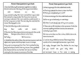 Conjunctions, tenses, parts of speech, synonym, antonym, punctuation,sentences