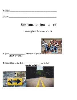 Conjunctions worksheet