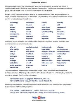 Conjunctive Adverbs Handout