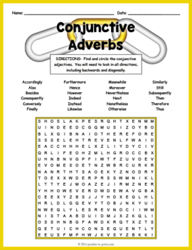 Conjunctive Adverbs Word Search Puzzle