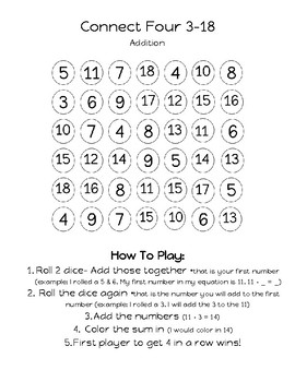 Connect 4 Addition and Subtraction