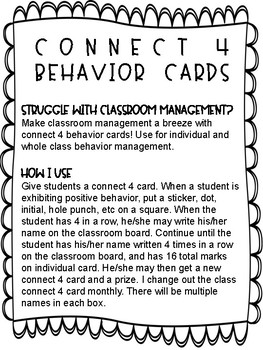 Connect 4 Behavior Card