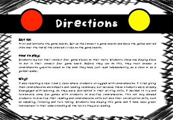 Connect 4 Comprehension Game - Reading comprehension - Guided Reading - Literacy