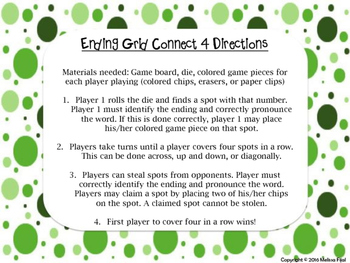 Connect 4 Ending Grid game; Endings with -si (/zh/ and /sh/)