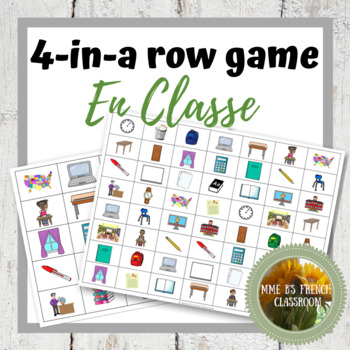 """D'accord 1 Unité 1 (1B): Connect 4 Game with vocabulary """"en classe"""""""