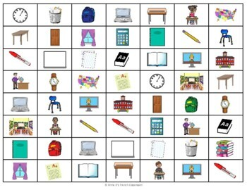 D'accord 1 Unité 1 (1B): En classe 4-In-A-Row vocabulary game