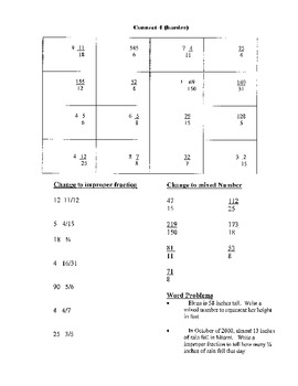 Connect 4 Game (Mixed numbers and improper fractions)