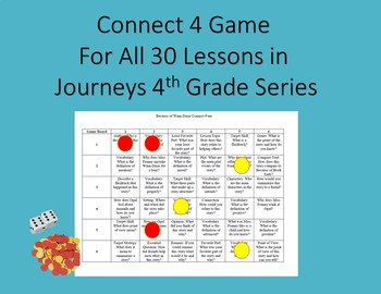 Connect 4 Game for All 30 Lessons in Journeys 4th Grade Series