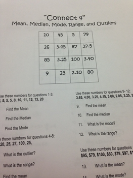 Connect 4 Game (mean, median, mode, outlier, and range)