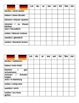 Modal and Auxiliary verbs in German Connect 4 game