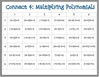 Connect 4: Multiplying Polynomials