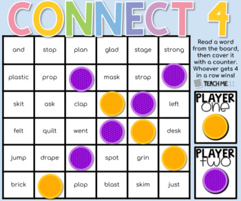 Connect 4 - Phonics Center Game - Set 6 - Paper & Digital Bundle