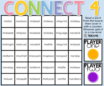 Connect 4 - Phonics Center Game - Set 6 - Paper & Digital Set