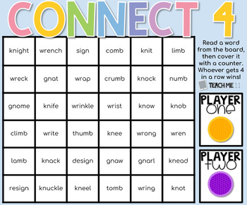 Connect 4 - Phonics Center Game - Set 5 - Paper & Digital Set