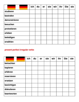 Perfekt of irregular verbs in German Connect 4 game