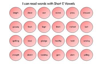 Connect 4 - Short E vowels