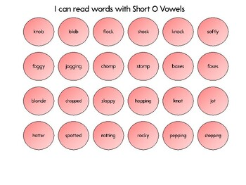 Connect 4 - Short O vowels