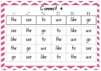 Connect 4 Sight Words