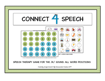 Connect 4 Speech! Speech Therapy Game for /K/ All Word Positions SLP
