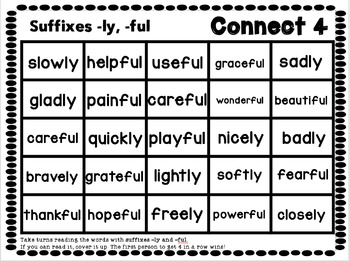 Connect 4: Suffixes -ly, -ful