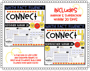 Connect 4 in a Row Math Facts Game {ADDITION & SUBTRACTION WITHIN 20 BUNDLE}