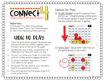 Connect 4 in a Row Math Facts Game {MULTIPLICATION WITHIN 100 SET}
