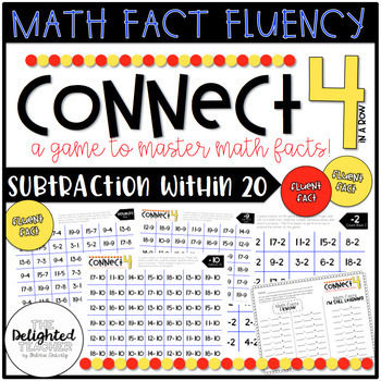 Connect 4 in a Row Math Facts Game {SUBTRACTION WITHIN 20 SET)