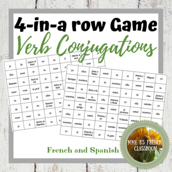 4-In-A-Row Game: for practicing verb conjugations:FRENCH or SPANISH
