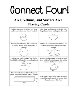 Connect Four: Area, Volume, and Surface Area - 8th Grade Math