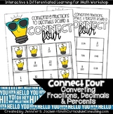 Connect Four Converting Fractions Decimals and Percents Game