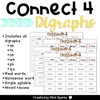 Connect Four--Digraphs (ch, th, sh, wh, qu, ph)