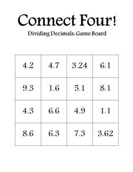 Connect Four: Dividing Decimals
