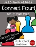 6th Grade Math Connect Four Full-Year Bundle (Includes Digital Math Games)