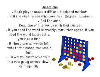 Connect Four Game - Long Vowels