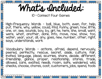 Connect Four High-Frequency and Vocabulary Words - Bundled