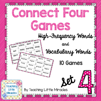 Connect Four High-Frequency and Vocabulary Words - Set 4