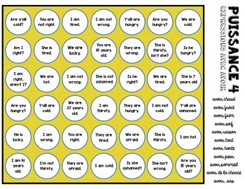 Connect Four - Idiomatic Expressions with Avoir (French)
