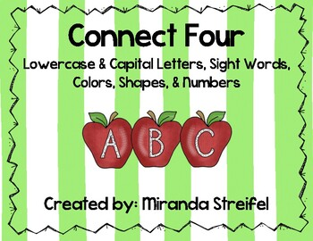 Connect Four-Lowercase & Capital Letters, Sight Words, Colors, Shapes, & Numbers