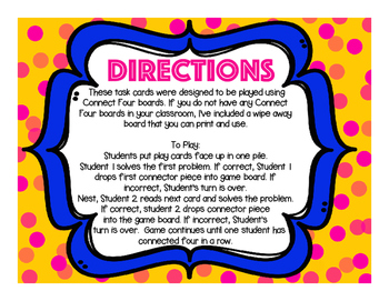 Connect Four Muli-Step Word Problems