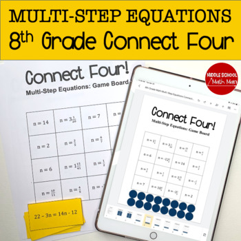 Connect Four: Multi-Step Equations - 8th Grade Math