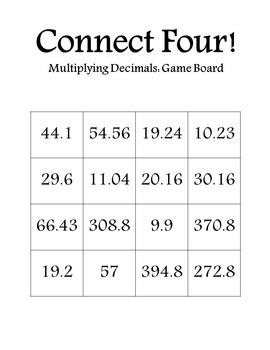 Connect Four: Multiplying Decimals