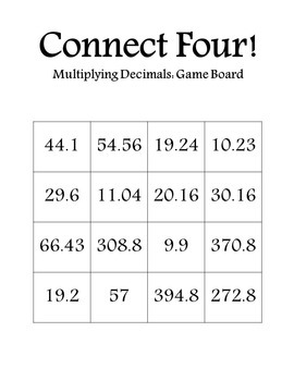 Connect Four: Multiplying Decimals