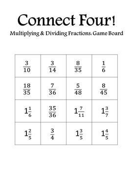 Connect Four: Multiplying and Dividing Fractions
